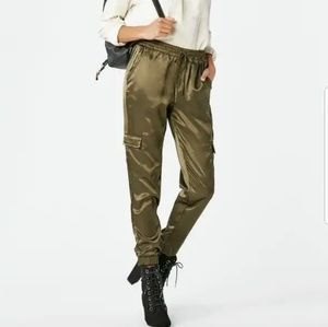 Olive Green Satin Joggers